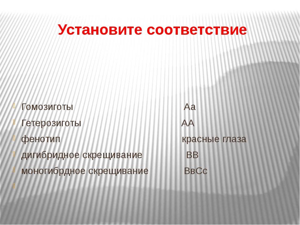 Установите соответствие Гомозиготы Аа Гетерозиготы АА фенотип красные глаза...