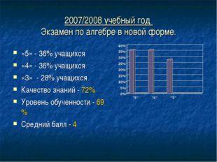 2007/2008 учебный год Экзамен по алгебре в новой форме. «5» - 36% учащихся «4
