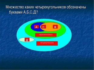 Множество каких четырехугольников обозначены буквами А,Б,С,Д?