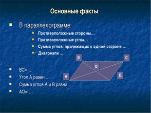 Основные факты В параллелограмме: Противоположные стороны… Противоположные уг