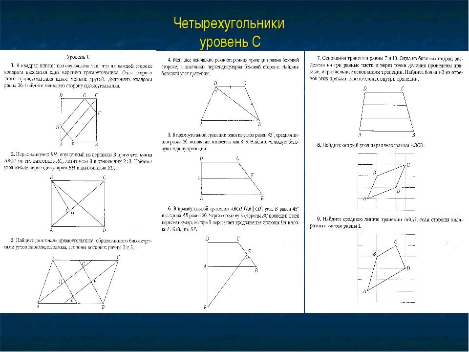 Четырехугольники уровень С