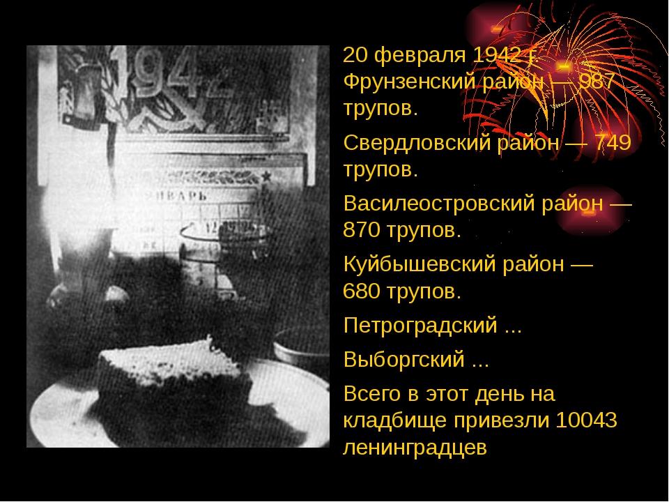 20 февраля 1942 г. Фрунзенский район — 987 трупов. Свердловский район — 749 т...