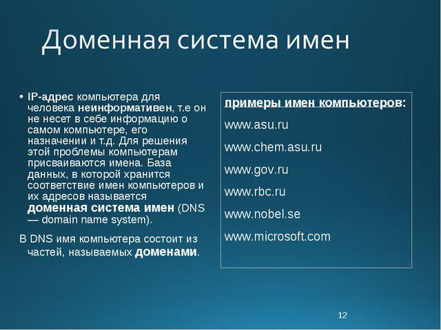 * IP-адрес компьютера для человека неинформативен, т.е он не несет в себе инф...