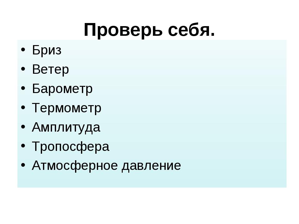 Проверь себя. Бриз Ветер Барометр Термометр Амплитуда Тропосфера Атмосферное...