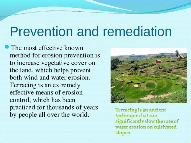 Prevention and remediation The most effective known method for erosion preven...