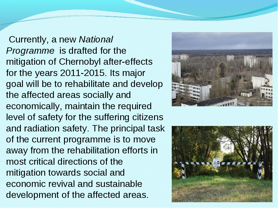 Currently, a new National Programme  is drafted for the mitigation of Cherno...
