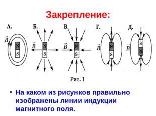 Закрепление: На каком из рисунков правильно изображены линии индукции магнитн