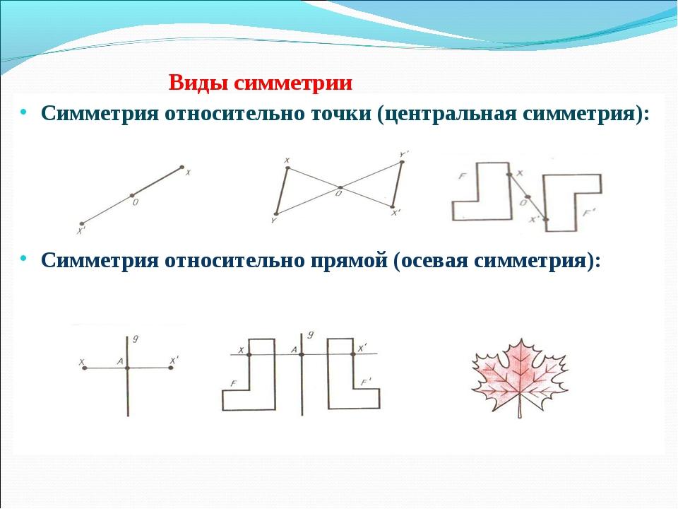 Виды симметрии Симметрия относительно точки (центральная симметрия): Симметр...
