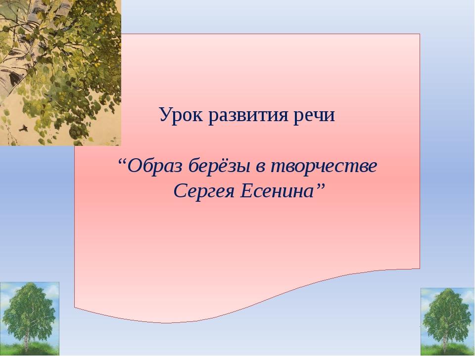 """Урок развития речи """"Образ берёзы в творчестве Сергея Есенина"""""""