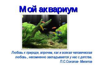 Мой аквариум Любовь к природе, впрочем, как и всякая человеческая любовь , не