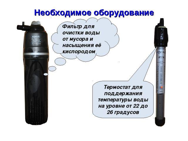 Необходимое оборудование Фильтр для очистки воды от мусора и насыщения её кис...