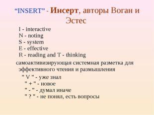 """INSERT"" - Инсерт, авторы Воган и Эстес I - interactive N - noting S - syst"