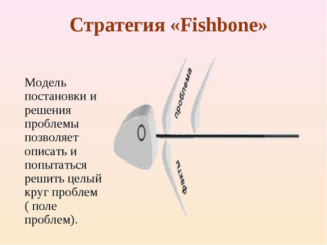 Стратегия «Fishbone» Модель постановки и решения проблемы позволяет описать...