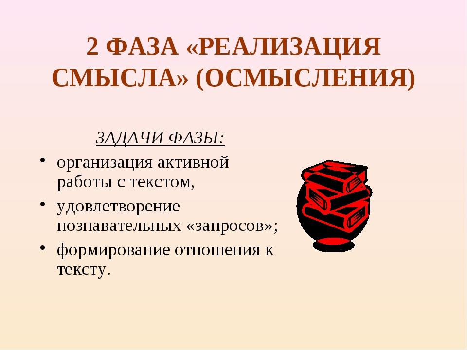 2 ФАЗА «РЕАЛИЗАЦИЯ СМЫСЛА» (ОСМЫСЛЕНИЯ) ЗАДАЧИ ФАЗЫ: организация активной раб...