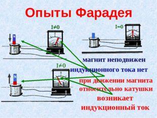 Опыты Фарадея при движении магнита относительно катушки возникает индукционны
