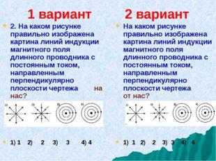 1 вариант 2 вариант 2. На каком рисунке правильно изображена картина линий ин
