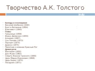 Творчество А.К. Толстого Баллады и стихотворения Василий Шибанов (1840) Бунт