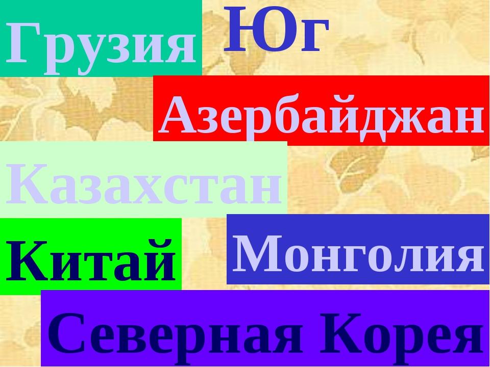 Юг Грузия Азербайджан Казахстан Монголия Китай Северная Корея