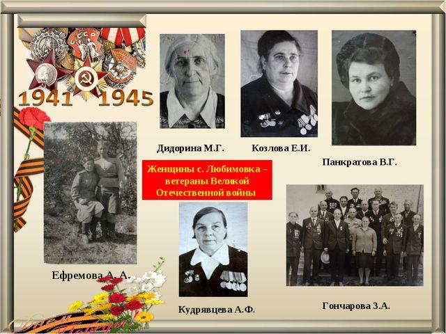 Панкратова В.Г. Козлова Е.И. Гончарова З.А. Дидорина М.Г. Кудрявцева А.Ф. Ефр...