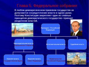 Глава 5. Федеральное собрание В любом демократическом правовом государстве н