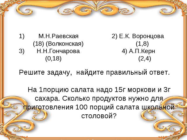 1) М.Н.Раевская 2) Е.К. Воронцова (18) (Волконская) (1,8) 3) Н.Н.Гончарова 4...