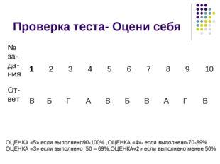 Проверка теста- Оцени себя ОЦЕНКА «5» если выполнено90-100% ,ОЦЕНКА «4»- если