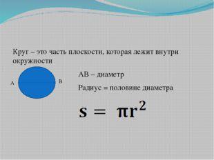 Круг – это часть плоскости, которая лежит внутри окружности АВ – диаметр Рад