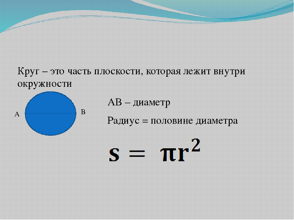 Круг – это часть плоскости, которая лежит внутри окружности АВ – диаметр Рад...