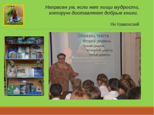 Напрасен ум, если нет пищи мудрости, которую доставляют добрые книги. Ян Каме