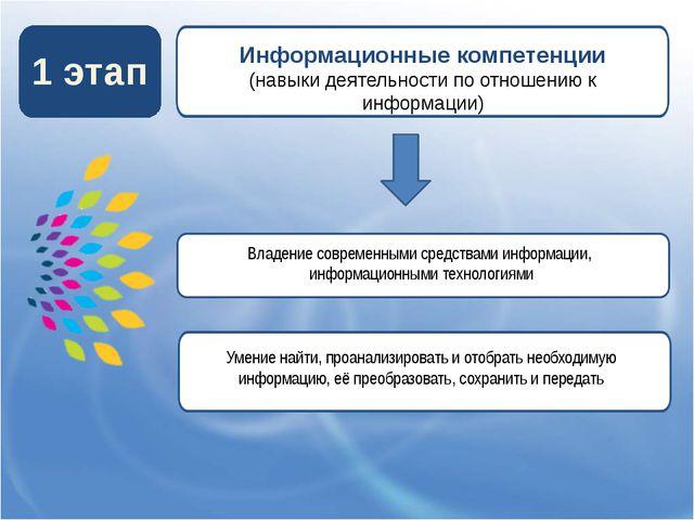 1 этап Информационные компетенции (навыки деятельности по отношению к информ...