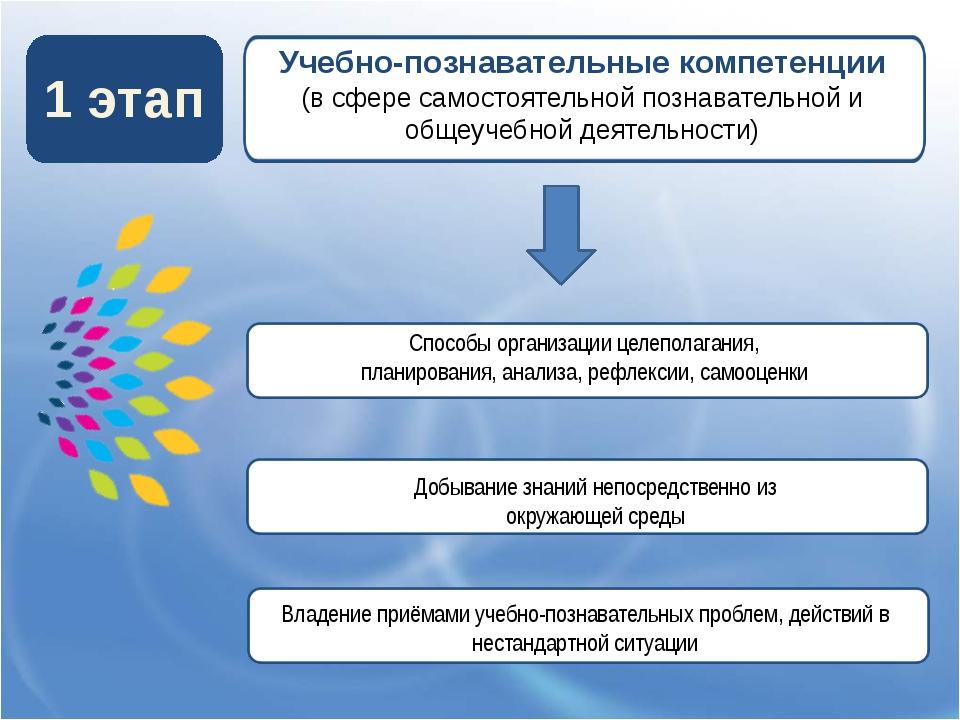 1 этап Учебно-познавательные компетенции (в сфере самостоятельной познавател...
