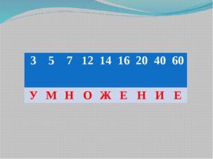 3 5 7 12 14 16 20 40 60 У М Н О Ж Е Н И Е