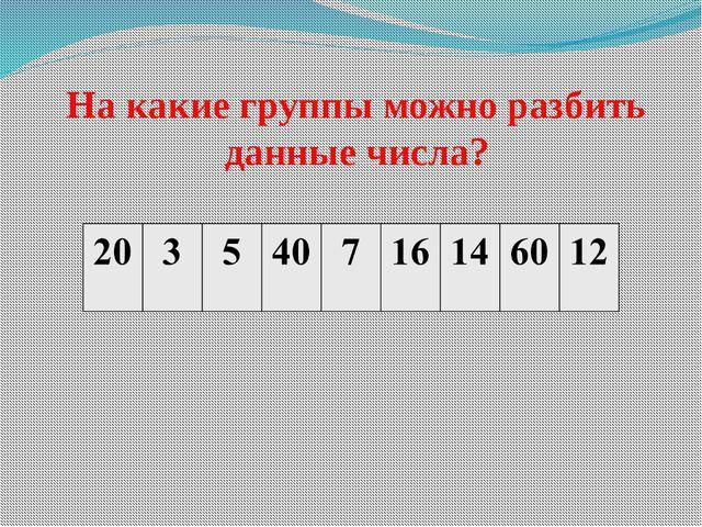 На какие группы можно разбить данные числа?