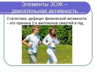 Элементы ЗОЖ – двигательная активность Статистика: дефицит физической активно