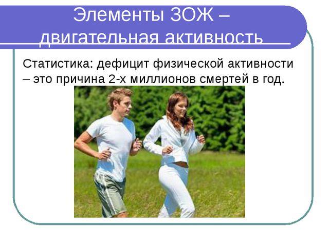 Элементы ЗОЖ – двигательная активность Статистика: дефицит физической активно...