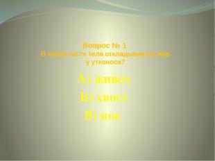 Вопрос № 1 В какой части тела откладывается жир у утконоса? А) живот Б) хвост