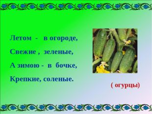 Летом - в огороде, Свежие , зеленые, А зимою - в бочке, Крепкие, соленые. ( о