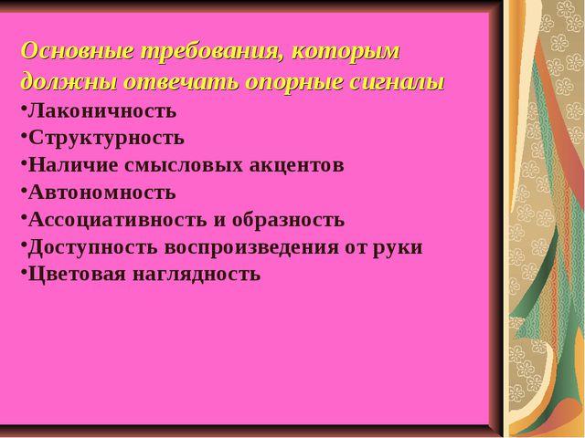 Основные требования, которым должны отвечать опорные сигналы Лаконичность Стр...