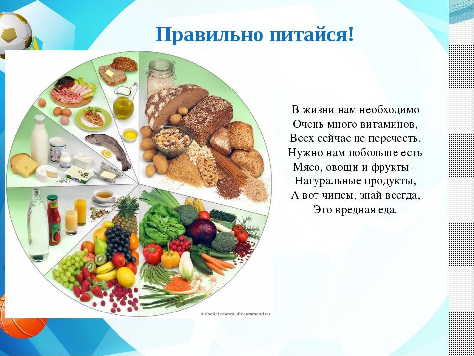 Правильно питайся! В жизни нам необходимо Очень много витаминов, Всех сейчас...