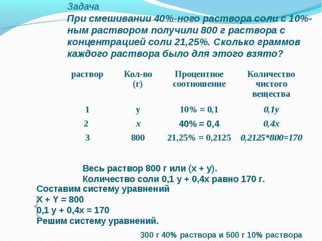 Задача При смешивании 40%-ного раствора соли с 10%-ным раствором получили 800...