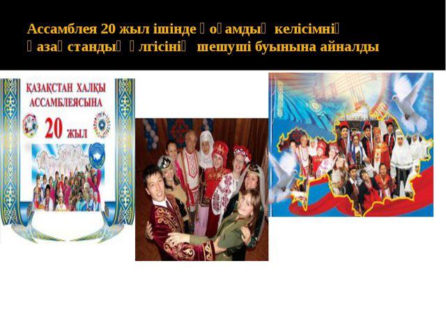 Ассамблея 20 жыл ішінде қоғамдық келісімнің қазақстандық үлгісінің шешуші буы...