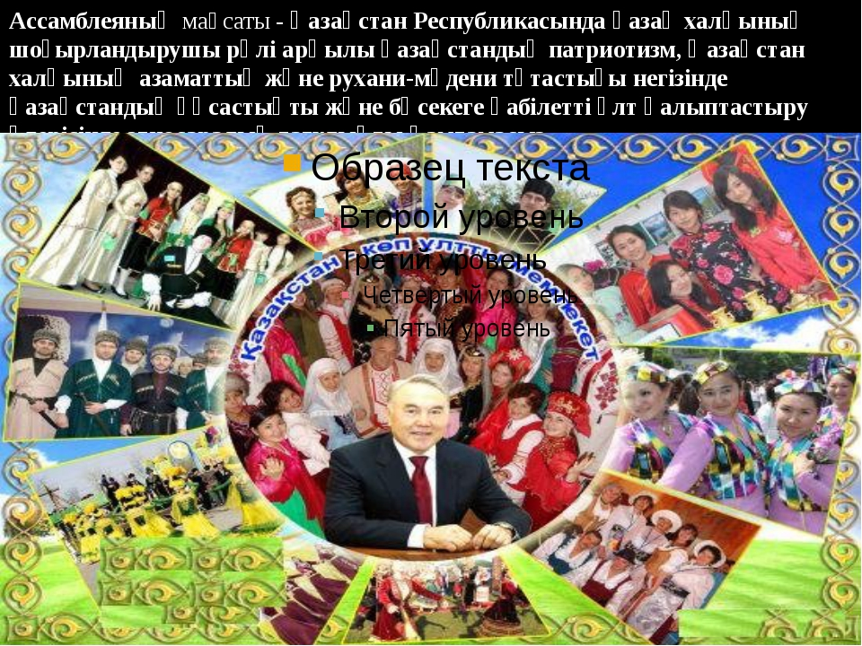 Ассамблеяныңмақсаты -Қазақстан Республикасында қазақ халқының шоғырландыруш...