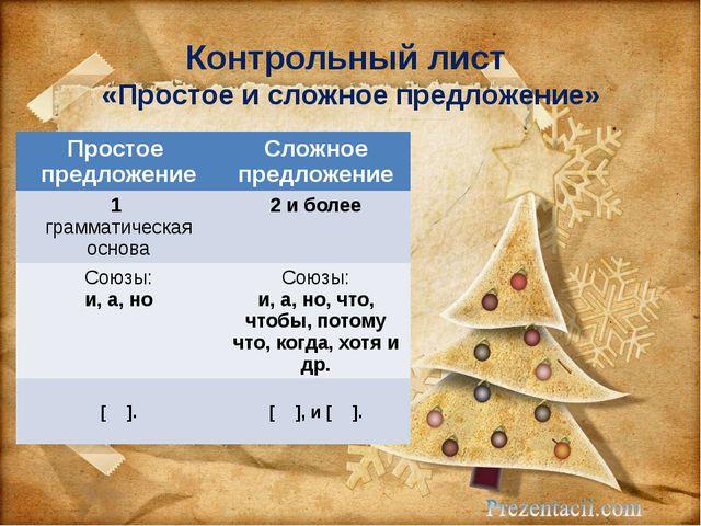 Урок русского языка в классе по теме Синтаксический разбор  Контрольный лист Простое и сложное предложение Простое предложение Сложное