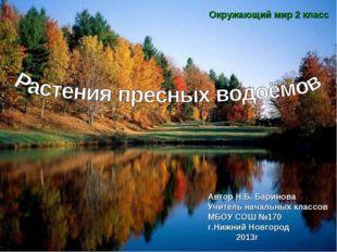 Окружающий мир 2 класс Автор Н.Б. Баринова Учитель начальных классов МБОУ СОШ