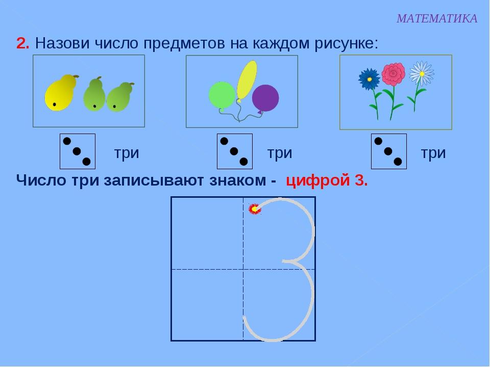 МАТЕМАТИКА 2. Назови число предметов на каждом рисунке: три три три Число три...