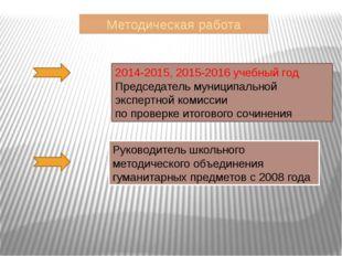 Методическая работа 2014-2015, 2015-2016 учебный год Председатель муниципальн