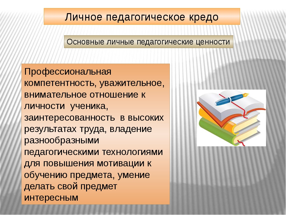 Личное педагогическое кредо Основные личные педагогические ценности Профессио...