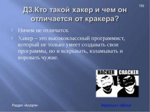 Ничем не отличатся. Хакер – это высококлассный программист, который не только