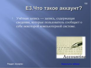 Учётная запись — запись, содержащая сведения, которые пользователь сообщает о