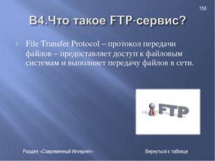 File Transfer Protocol – протокол передачи файлов – предоставляет доступ к фа